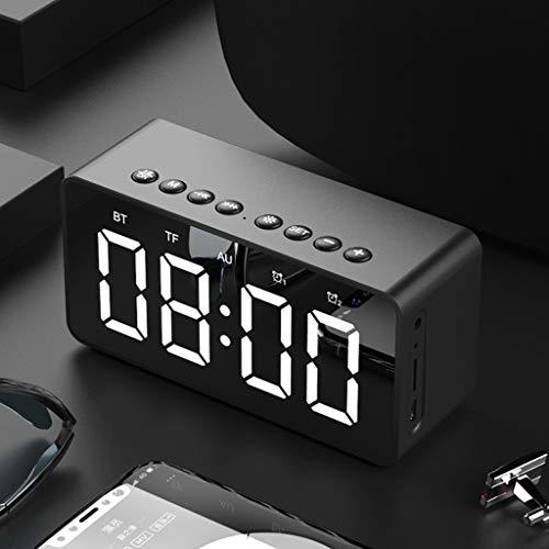 TianranRT BT506 Mini Bluetooth Kabellos Super Bass Lautsprecher TF Karte Audio Wecker Watch Zuhause (Schwarz) -