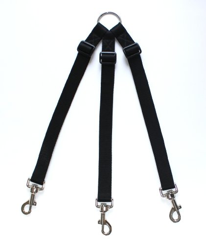 HIKS Products ADJUSTABLE TRIPLE/THREE / 3 Dog Coupler, BLACK Suitable for Walking 3 SMALL dogs on one Lead 1