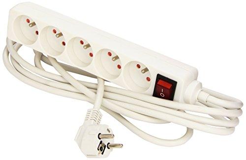 Neklan 2020317 Ladrones Alargadores 5 enchufes con interruptor, color blanco