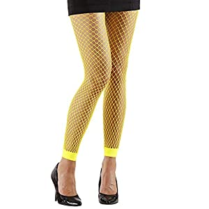 WIDMANN 20458 Neon Red Leggings, mujer, Amarillo