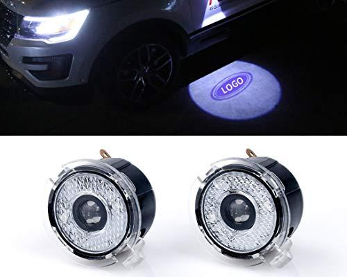 Sunshine Fly 2 stücke LED Seite Unter Spiegel Projektor Licht Geist Logo Willkommen Ambient Lighting Mirror Auto Ersatz Rücklicht Zubehör Weiße (for Edge) (Edge 2008 Ford)