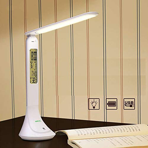 Lampe de bureau à LED, lampes de table oculaires, lampe de bureau à intensité réglable avec port de chargement USB, 5 modes d'éclairage à 7 niveaux de luminosité, Touch Control, blanc (Design : B)