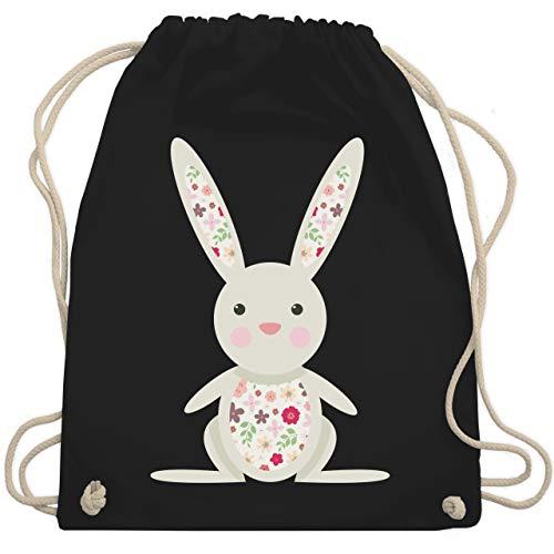 Tiermotive Kind - Süßer Hase - Frühlingstiere mit Blumen - Unisize - Schwarz - WM110 - Turnbeutel & Gym Bag