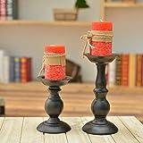 Eisen Säulenständer Kerzenhalter, Tischdekoration Kerzenständer für Hochzeit, Party, Geburtstag, Abendessen bei Kerzenlicht, vintage Kerzenständer Hausdekoration, schwarz - 6