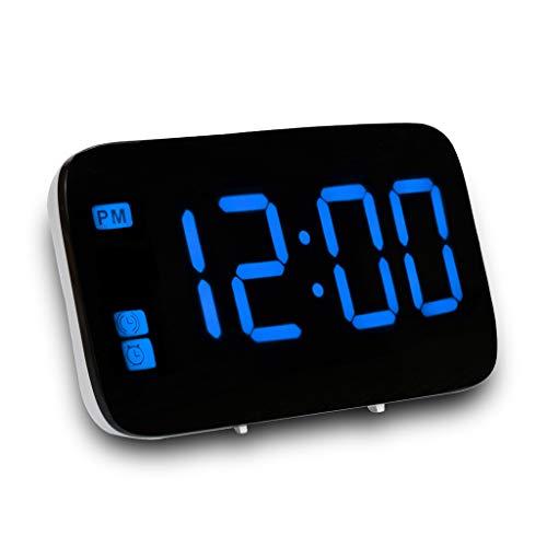FBGood LED Digital Wecker Wiederaufladbar Wecker mit Snooze-Funktion, 3,5 Zoll Display, Smart-Voice-aktiviert, Uhrzeit und Datumsanzeige, USB/Batterie Betrieben (Blau) (Batteriebetrieben Duale Wecker)