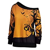 VEMOW Custume Damen Halloween Party Skew Neck Herbst Frühling Kürbis Print Casual Party Täglich Sport Sweatshirt Jumper Pullover Tops(Gelb, EU-40/CN-S)