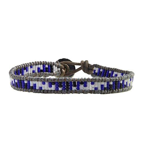 KELITCH Bohémien Geometric Motif Perles de Rocaille Tissés à la main Cuir Bracelet Spirale-Bleu
