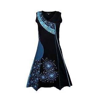 TATTOPANI Damen-Sommer-Sleeveless V-Ausschnitt Patch-Kleid mit Print
