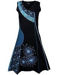 Été manches des femmes à encolure en V robe avec Patch-Cornflower