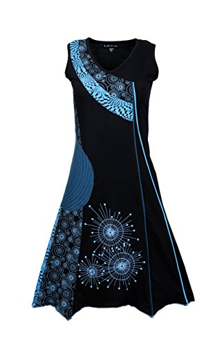 Damen-Sommer-Sleeveless V-Ausschnitt Patch-Kleid mit Print (Alternative Kleidung)