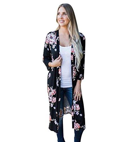 Damen Blumen Kimono Cardigan Chiffon | ZEZKT Floral Print Schal Tops Kimono Outwear Blumenmuster Oberteil Langarmshirt Herbst Casual Lose Jacke (L, Schwarz) (Blumen-print Cardigan)