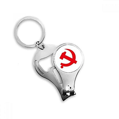 Chinesischen kommunistischen Badge rot Symbol Schlüsselanhänger Ring Fuß Nail Clipper Cutter Schere Tool Kit Flaschenöffner Geschenk -