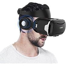 Casque VR, Hizek VR Lunette Casque Realite Virtuelle Films Jeux avec Ecouteurs pour iPhone 7 / 6s Plus / iPhone 6Plus,/ Samsung Galaxy S7 / Galaxy S7 Edge, HUAWEI, Xiaomi--NOIR