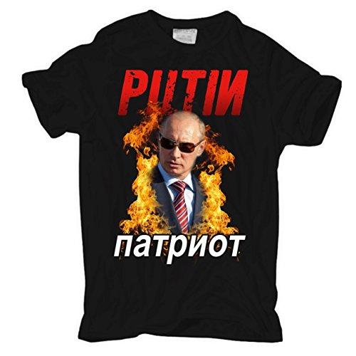 Männer und Herren T-Shirt Putin PATRIOT Schwarz