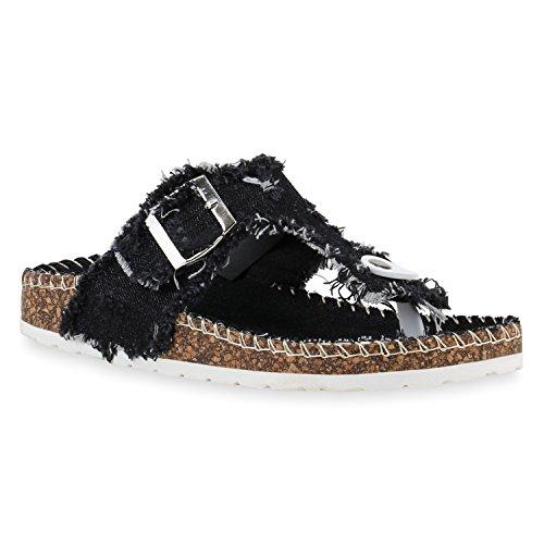 Stiefelparadies Bequeme Damen Sandalen Zehentrenner Glitzer Komfort-Sandalen Kork Bequem Strand Schnallen Schuhe 142975 Schwarz Risse 40 Flandell