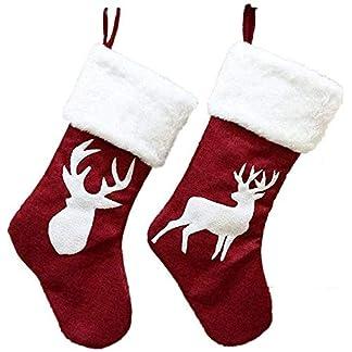 HZY 2 Piezas Elk Medias De Navidad Bolsas De Regalo Adornos para árboles De Navidad Calcetines Chimenea Colgar Colgante Medias De Navidad Colgante Papá Noel Botas De Muñeca Bolsa
