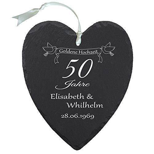 Schieferherz - Goldene Hochzeit (Natur): persönliches Schiefer Herz mit Namen Gravur und Datum - Geschenkidee 50 Jahre Ehe, 50. Hochzeitstag, Goldhochzeit