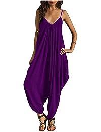 0621ccdb552a7 SaiDeng Monos Y Vestidos De Mujer Fiesta Largos Verano Jumpsuits Cuello En  V De Tirantes Holgados