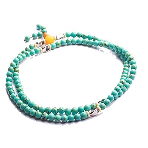 Qiyun Turquoise Chapelet Bleu Mala Priere Perles Collier Hommes Unisexe Bracelet Nouveau