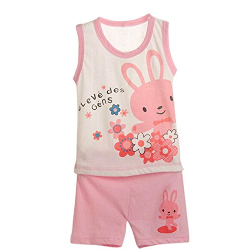 For 9-36Months ,Clode® 1Set Baby Children Clothing Set Shirt+Pants Undershirt Shorts Kids Pajama Set (12-20Months, Pink)
