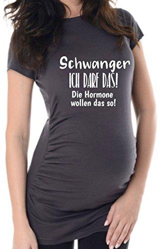 Anthrazit Ich darf Das, 38, Umstands T-Shirt/Schwangerschafts T-Shirt,