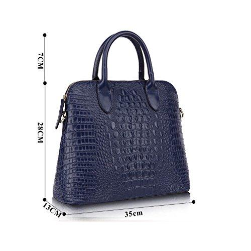 KAXIDY Krokodil-Korn Leder Handtasche Damen Mädchen Schultertaschen Leder Messengerbags Schulter Handtasche Tasche Damentasche (Schwarz) Schwarz