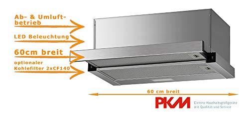 Flachschirmhaube 60cm | Einbau Dunstabzugshaube | Ausziehbar | LED Beleuchtung | Abluft- und Umluftgeeignet