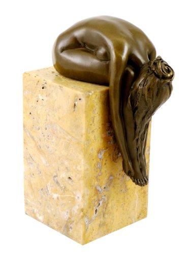 - Bronze Plastik - Gebeugte Frau auf Marmorsockel - signiert Milo - Moderne Kunst Skulptur - Bronzefigur Akt - Dekoration - Mädchen