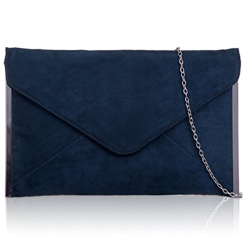 Xardi London - Pochette media da donna, busta piatta, in pelle scamosciata sintetica, da sera, UK Ink