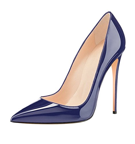 EDEFS - Chaussures Femme - Escarpins Femmes - Femmes Élégant Talon Haut Aiguille - 120mm - Chaussures Fête Soiree Bleu