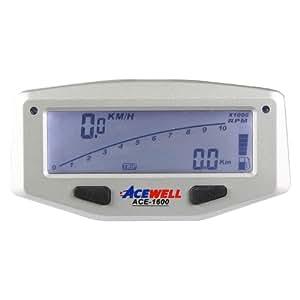 Acewell ACE-1600 Indicateur de vitesse pour moto avec fonction tachymètre, affichage de la température, jauge de carburant et avertisseur à LED (Argenté)