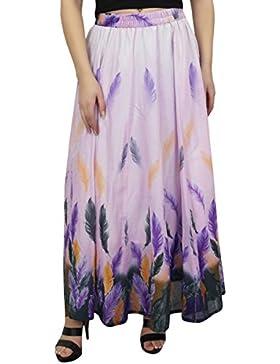 Bimba Women's Feather impreso algodon elastico cintura verano falda larga