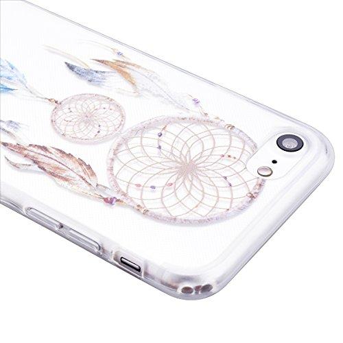 Coque iPhone 7, GrandEver Housse Silicone Transparente Clair Back Case pour iPhone 7 Attrape Rêve Motif TPU Bumper Cover Caoutchouc Doux Gel Couverture Coquille Rubber Gel SKin Housse Protecteur pour  Attrape Rêve