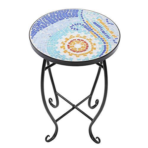 Cocoarm Runder Blumenhocker Mosaik-Beistelltisch Gartentisch Mosaiktisch für Balkon Garten Metall 52 × 35 × 35 cm
