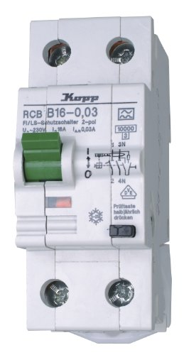 Kopp 741615017 Green Electric Fehlerstromschutzschalter FI/LS-Kombination RCB, 16A, 30mA, 2-polig