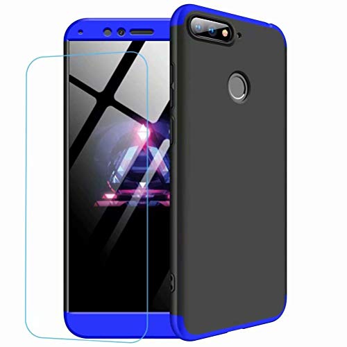 JINCHANGWU kompatibel mit Hülle für Huawei Honor 9 lite Hülle 3 in 1 Rundum-Schutz Full Cover+Panzerglas Unbreakable Full Body Case Handy-Tasche Schale Handy-Hülle Blau Schwarz