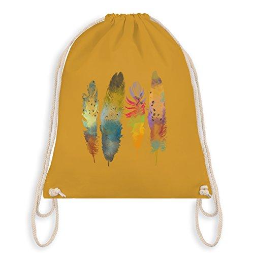 Shirtracer Boheme Look - Federn Wasserfarbe Watercolor Feathers - Unisize - Senfgelb - WM110 - Turnbeutel & Gym Bag