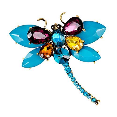 IPOTCH Unisex Brosche Kostüm Pins mit Bunte Kristall Libelle Brosche Muster Anstecknadeln - Hellblau