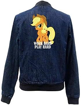 Work Hard Play Hard Pony Bomber Chaqueta Girls Jeans Certified Freak