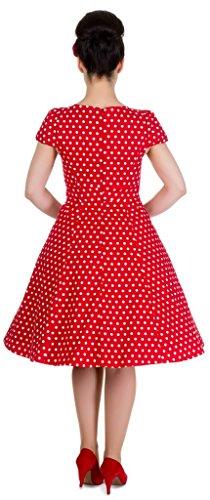 Dolly and Dotty�?'Claudia�?Retro Polka Dots Tupfenkleid mit kurzen Ärmeln Rot (red Ah)