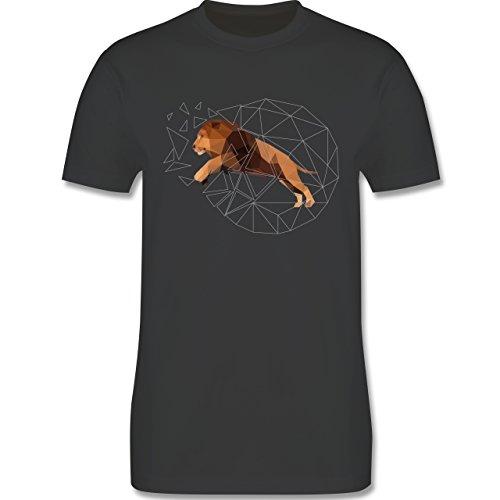 Sonstige Tiere - Freiheit Löwe - Herren Premium T-Shirt Dunkelgrau