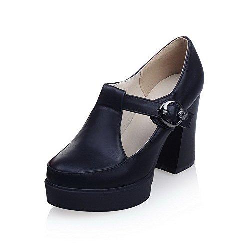 AllhqFashion Femme Boucle à Talon Haut Couleur Unie Rond Chaussures Légeres Noir