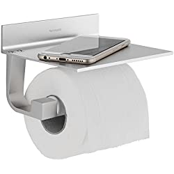 Wangel Portarrollo para Papel Higiénico, Pegamento Patentado + Autoadhesivo 3M, Aluminio, Acabado Mate