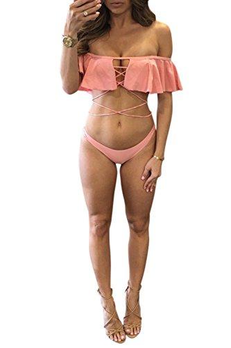 Lkous Frauen Sexy Strappy Push Up Flounce One Piece Bademode Bikini Badeanzug Sets Pink02