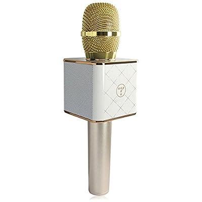LeaningTech Q7 Bluetooth 4.0 Wireless Speaker Handheld KTV Effects Karaoke Microphone White Golen from LeaningTech