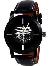 """Montres New Designer """"MAHADEV"""" Print Dial Black Leather Belt Boys & Girls Watch - For Men & Women"""