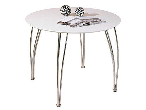 Inter Link 50700320 Esstisch Küchentisch Tisch Esszimmer Esszimmertisch Küche weiß chrom rund 100 cm