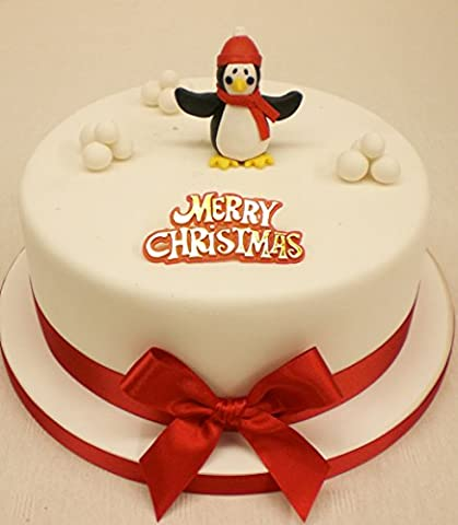 Claydough Penguin Ornament and Snowballs Christmas Cake Topper Decoration Pack