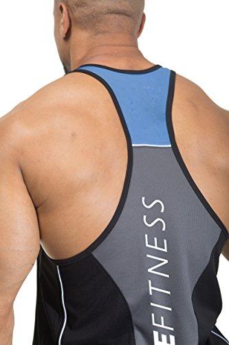 Entscheidender Fitness 3Ton Bodybuilding Gym Muskelshirt Y Rückseite Stringer/Racerback Weste schwarz / blau