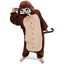 ABYED Kigurumi Pijamas Unisexo Adulto Traje Disfraz Adulto Animal Pyjamas,brown del mono Adulto Talla XL -para Altura 175-183CM